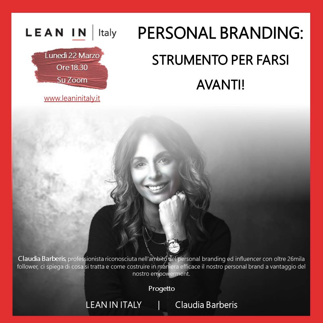 Personal Branding con Claudia Barberis. Uno strumento per farci avanti!